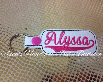 Alyssa - In The Hoop - Snap/Rivet Key Fob - DIGITAL EMBROIDERY DESIGN