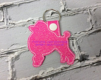 Poodle - Dog - In The Hoop - Snap/Rivet Key Fob - DIGITAL Embroidery Design