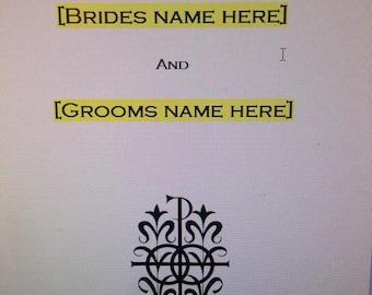 Catholic Mass Wedding Program- Digital File