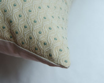 Ivory Pillow Cover Accented with Green Dots