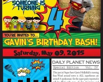 Birthday SUPERHERO Inviation