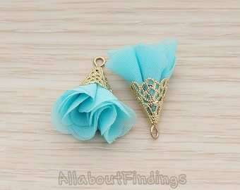 PDT1300-G-LB // Light Blue Gold Plated Textured Wide Cone Cab Silk Tassel Pendant, 2 Pc