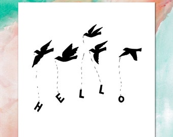 Greeting card + Everyday Stationery + Messenger Birds + INSTANT DOWNLOAD