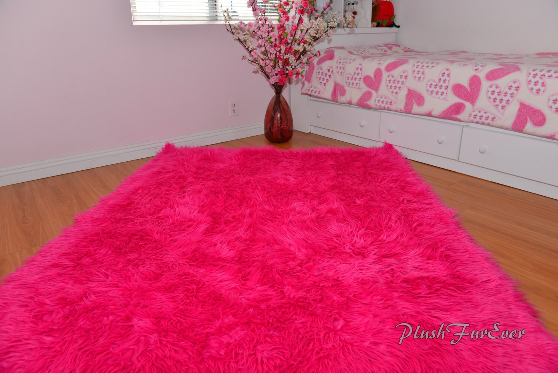 Promo Hot Pink Mongolian Rectangle Area Throw Rug Baby Girl