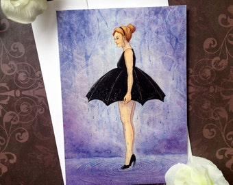 when it rains umbrella dress fine art watercolor 5 x 7 inch blank greeting card