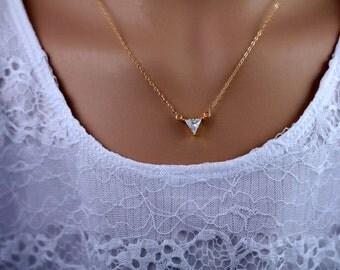 Triangle Trillion Geometric CZ Pendant Necklace, Delicate, Sturdy Chain, Sparkle, Gold Filled Chain, Minimalist Necklace, Simple, NK007