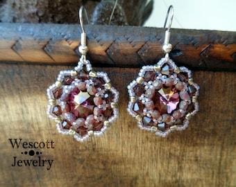 Burgundy Blossoms Rivoli Earrings