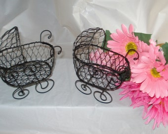 Vintage Mini Wire Baby Buggies - (Set of 2) - Great for Baby Shower Decorations