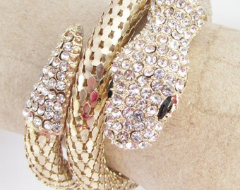 Snake Bracelet, Rhinestone Bracelet, Snake Jewellery, Cuff Bracelet, Vintage Bracelet, Snake Bangle