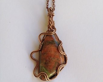 Unakite Wire Wrapped Pendant - Recycled Copper Wire - Eco friendly - Squiggles