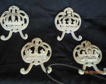Cast Iron wall hook, Cast iron crown hook, Crown wall hook, Crown hat wall hook, Shabby chic hook, hook, King hook, Queen hook