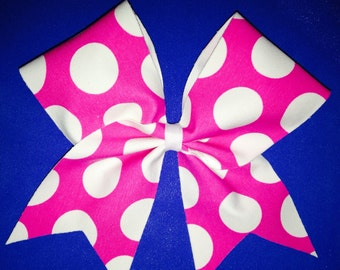 Big cheer Bow hot pink with White Dots