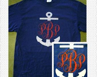 Glitter Vinyl Monogram/Anchor Monogram/T-Shirt/ Anchor Monogram Tee/Anchor Monogram Shirt/Nautical Monogram/Cruise Shirt/Bridesmaids Party