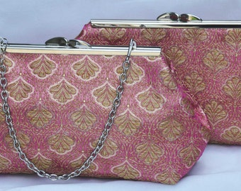 wedding clutch, evening clutch,gold and pink brocade clutch Set of 2
