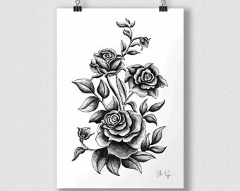 Black and white print of original illustration art poster ROSES