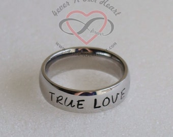 Silver Purity Ring, Personalized Abstinence Ring, Teen Abstinence, Wait for Marriage Promise, Promise Ring, Hand Stamped Teen Purity Ring