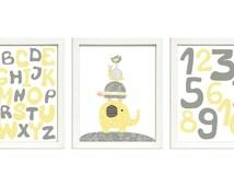 Yellow Gray Grey Nursery Art Print Set of 3 ABC Alphabet Numbers Elephant Bird Turtle Giraffe Baby Nursery Print Child Kid Room Wall Decor
