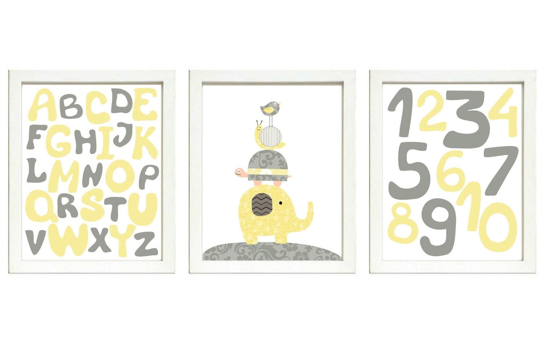 Yellow Gray Grey Nursery Art Print Set of 3 ABC Alphabet Numbers Elephant Bird Turtle Giraffe Baby N