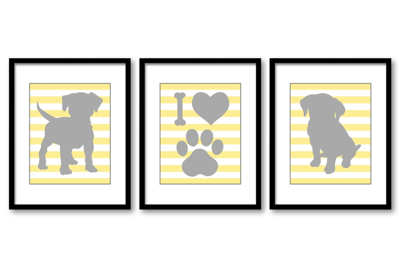 Puppy Dog Nursery Art Puppy Prints Set of 3 Prints Yellow Grey Stripes Baby Wall Decor I Love Dogs P