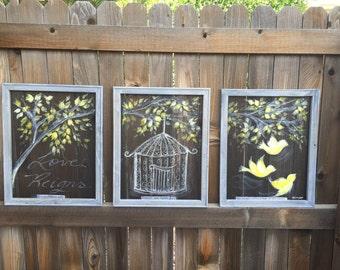 Birds painting, bird art, yellow birds, nature, recycled frame,