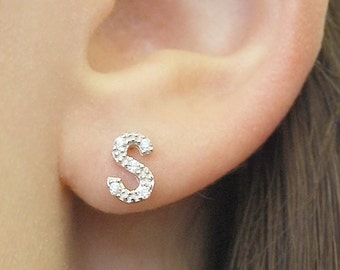 Alphabet Letter Silver Studs - Personalized Initial Earrings with White Topaz