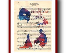 Phantom of the Opera  Poster 2 Watercolor  School Musical Poster  Wall Art Print 8x10 Wall Decor  Book Page Upcycled Dictionary