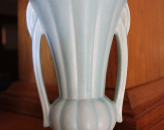 Vintage Nelson McCOY Two-handled Art Deco Aqua/Green Matte-Finish Tall Art Pottery Vase