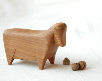 Hand carved bull, bull miniature,bull figurine cherry wood