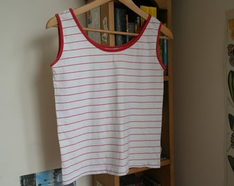 Red Striped White Vest