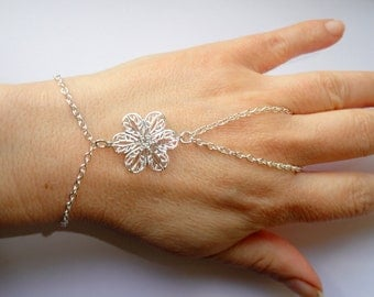 Silver flower slave bracelet, Slave bracelet ring, hand bracelet, Bohemian hand jewelry, Silver slave bracelet