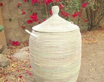 Huge Winter White Wedding Basket, laundry hamper, natural grass, handwoven
