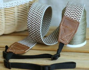 Camera Strap, Neck strap, Handmade, Fabric Woven Brown Color Herringbone pattern