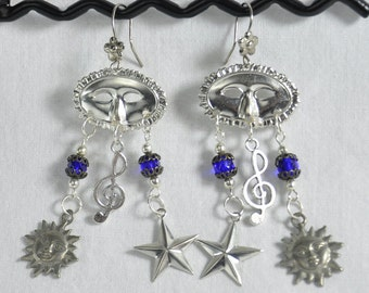 Harlequin Earrings Masquerade Mask and Treble Clef with Vintage Crystals and Celestial Bits