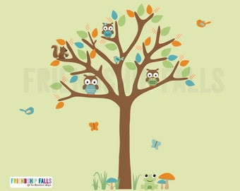 Forest Animals Decal, Nursery Decal, Squirrel, Owl Decal, Frog, Friendship Falls decal, Ollie's Playground Scene