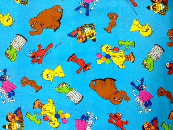 Sesame street bert elmo cookie monster big bird fabric by for Baby monster fabric