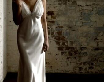 1930s inspired bias cut liquid silk satin V-neck low back wedding dress with silk chiffon gathered bust