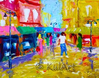 "Impasto Original Oil Painting ""Downtown"" 14""x11"" by Alexander Kulagin"