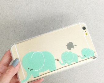 Clear Plastic Case Cover For Iphone 5 5s - Elephant family