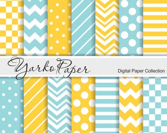 Turquoise And Yellow Digital Paper Pack, Chevron, Polka Dot, Stripes, Basic Geometric Paper, Digital Background, 14 Sheets -Instant Download