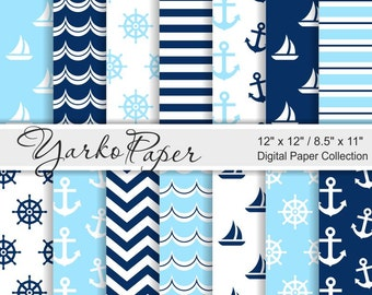 Navy Blue And Light Blue Nautical Digital Paper Pack, 12x12, 8.5x11, Chevron, Anchor, Stripes, Geometric, 14 Sheets - Instant Download