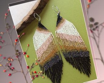 "Long Beaded Fringe Earrings ""Ear Art"""