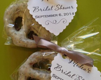 Chocolate Covered Pretzels Favor for Weddings, Bridal Showers, Birthday Parties with Favor Tag