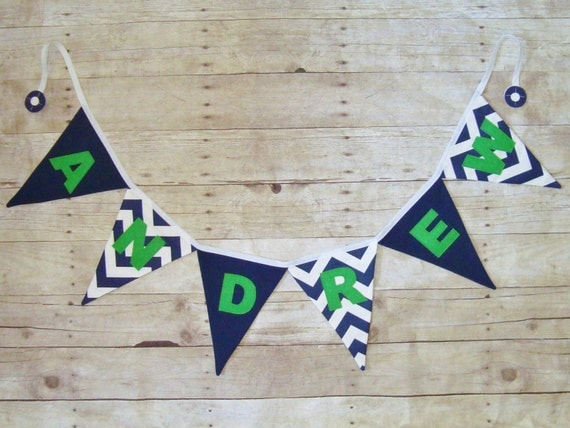 Name Banner in navy chevron / Navy and White Name sign / Fabric Name Banner / Nautical decor / navy name bunting / Navy and green
