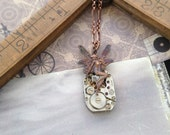 Watch steampunk  fairy necklace Handcrafted artistic jewelry -The Victorian Magpie