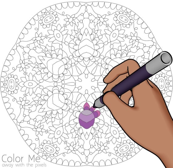 Coloring Pages For Grown Ups Pdf : Items similar to mandala coloring page digital stamp