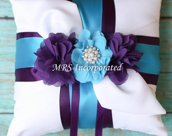 Ring bearer pillow, malibu blue ring bearer, purple ring bearer pillow, wedding gift bridal gift
