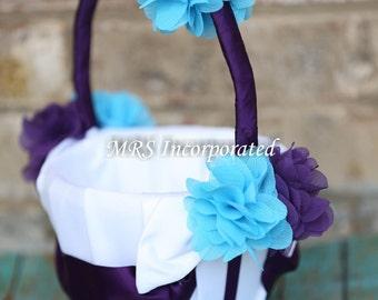 Malibu Blue Flower Girl Basket, Purple flower girl basket, Flower Girl Basket