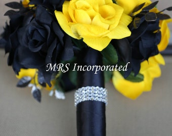 Black and Yellow Rose Bouquet