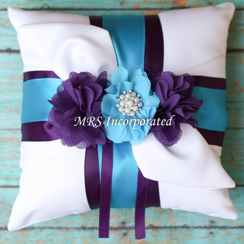 Ring bearer pillow malibu blue ring bearer purple ring