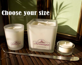 All natural Lemongrass essential oil soy wax candle. Vegan. Choose your size.